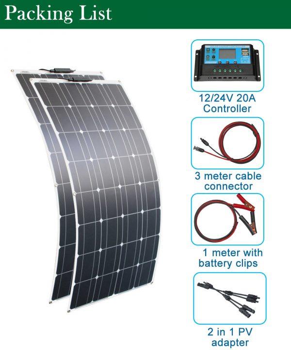 RG batterie solaire Flexible panneau solaire 100W 12V 24v contrôleur solaire + 10A système solaire Kits comple pour pêche bateau cabine Camping