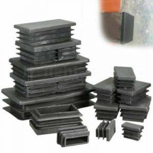 4 pièces en plastique noir obturateur embouts rectangulaire tuyau Tube bouchon insérer bouchons bonde pour meubles Tables chaises protecteur