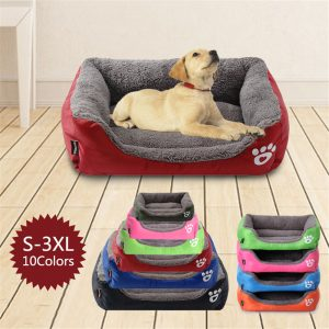 (S-3XL) grand animal chat chien lit 8 couleurs chaud confortable chien maison doux polaire nid chien paniers tapis automne hiver imperméable chenil #1