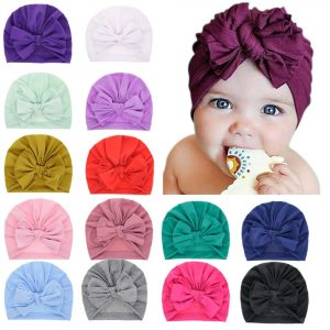 Chapeau épais pour nouveau-né   Joli chapeau d'hiver en coton, coton, doux, chapeau Turban à gros nœud