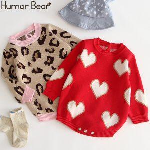 Humor ours bébé 2019 automne hiver modèles infantile barboteuse enveloppes Polka Lotus feuille col tricot bébé vêtements
