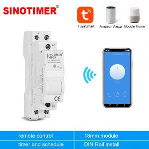 Maison intelligente 18mm 1P WiFi télécommande APP disjoncteur commutateur de synchronisation escalier minuterie Din Rail universel 110V 220V entrée ca