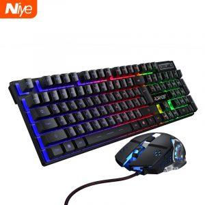 Jeu clavier et souris filaire rétro-éclairage clavier mécanique clavier Gamer kit silencieux 3200DPI jeu souris ensemble pour PC portable