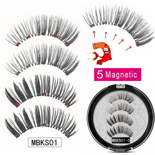 MB cils magnétiques avec 5 aimants faits à la main réutilisables 3D vison faux cils pour le maquillage faux cils magnétique naturel pince à épiler