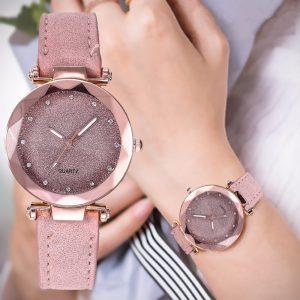 Décontracté femmes romantique ciel étoilé Montre-bracelet en cuir strass concepteur dames horloge robe Simple Gfit Montre Femme