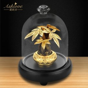 Asklove Fortune arbre recueillir richesse ornement 24K feuille d'or artisanat Fengshui décor chanceux argent arbre bonsaï maison bureau décoration