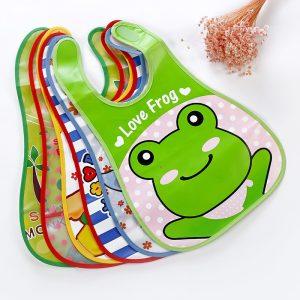 1 pièces bavoir De sécurité réglable bébé bavoirs en plastique imperméable à l'eau déjeuner alimentation bavoirs bébé dessin animé alimentation tissu enfants bébé tablier De