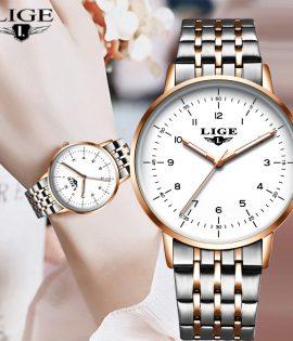 LIGE 2020 nouvelle montre en or femmes montres dames créatif en acier femmes Bracelet montres femme étanche horloge Relogio Feminino