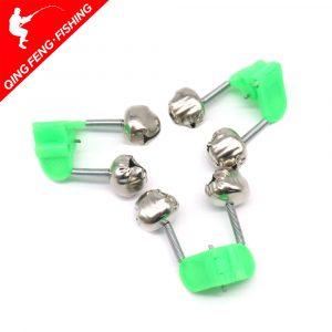 10 pièces/lot pêche morsure alarmes canne à pêche cloche tige pince pointe pince cloches anneau vert ABS pêche accessoire extérieur en métal