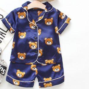 Pyjama d'été en soie pour bébés   Costume ours nouveau-né, vêtements de fille et bambins, ensemble de vêtements de nuit pour garçons, ensemble survêtement pour enfants