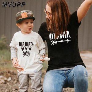 Été famille correspondant t-shirt court maman et fils look imprimer lettres maman garçons vêtements mode t-shirt litte bébé enfants tenues