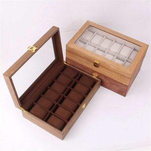 Rétro en bois écrin de montre Durable emballage support bijoux Collection stockage montre organisateur boîte cercueil