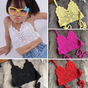 2020 enfants maillots de bain pour filles Crochet bretelles haut de Bikini bébé fille maillot de bain été enfants maillot de bain maillots de bain livraison directe