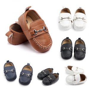 Chaussures en cuir pour bébé garçon chaussures de sport pour bébé nouveau-né premier marcheur chaussures à semelles souples pour enfant en bas âge pour 0 -1 an