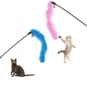 Livraison directe chat interactif jouet bâton plume baguette avec souris Cage jouets en plastique artificiel coloré chat Teaser jouet fournitures pour animaux de compagnie