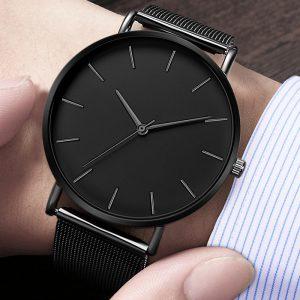 Hommes Montre montres à Quartz décontractées Simple métal heure Reloj Montre à Quartz Montre maille acier inoxydable erkek kol saati masculino horloge