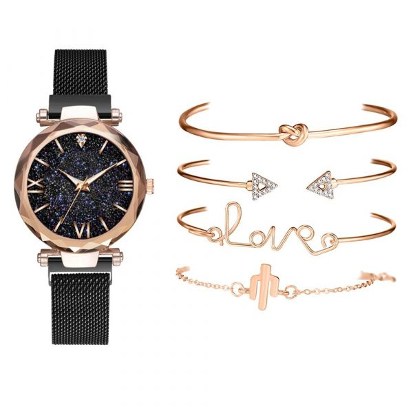 Marque de luxe or Rose ciel étoilé cadran montres femmes dames cristal Bracelet Quartz montre-Bracelet 5 pièces ensemble Relogio Feminino