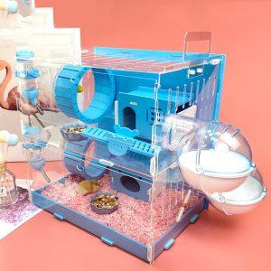 Bleu Double Hamster Cage grande taille hollandais cochon Cage acrylique animal de compagnie nid petit animal de compagnie avec 30x20x30cm