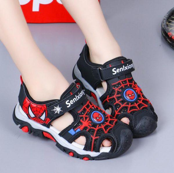 Chaussures d'été 2020 pour enfants | Sandales spiderman à bout fermé pour garçons en bas âge, sandales orthopédiques de sport en cuir pu pour bébés garçons