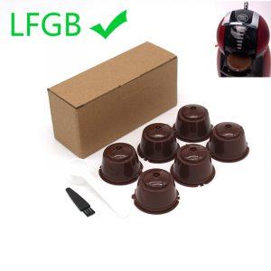 6 pièces adaptées pour Dolce Gusto café filtre tasse réutilisable café Capsule filtres pour Nespresso, avec cuillère brosse accessoires de cuisine