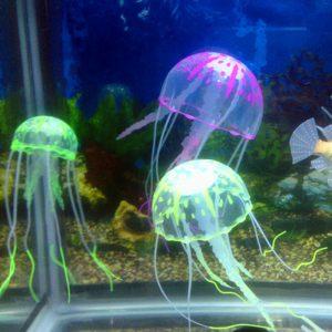 Aléatoire artificiel Aquarium méduse ornement décor brillant effet Aquarium décoration aquatique fournitures pour animaux de compagnie accessoires pour la maison
