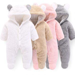 CYSINCOS-vêtements d'hiver pour nouveau-né | Vêtements d'extérieur barboteuses pour bébés garçons et filles, combinaison en molleton doux, pyjama épais pour nouveau-né