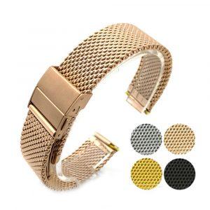18mm 20mm 22mm mode acier inoxydable milanais nouvelle conception maille bracelet de montre sangle libération rapide en métal maille bracelet femmes hommes
