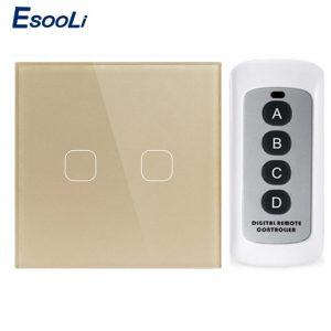 Esooli-interrupteur mural sans fil | EU/UK Standard 1/2/3 gangs, télécommande tactile, pour maison intelligente, télécommande RF433