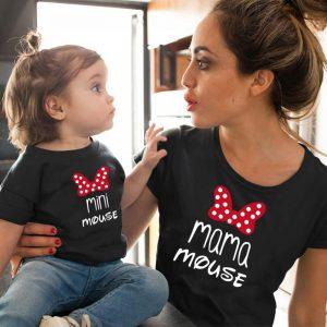 T-shirt maman et mini   Vêtements assortis pour famille, en coton, avec nœud, kawaii, vêtements maman et me, vêtements de petites filles et tenues assorties