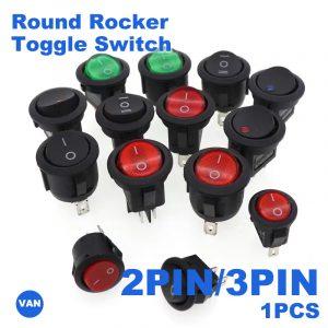 Interrupteur à bascule en plastique | 1 pièce 2PIN/3PIN rouge noir blanc 6A/250V interrupteur rond à bascule, interrupteur à bouton-poussoir en plastique