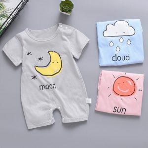 0-18M nouveau-né bébé vêtements nouveau-né bébé garçon fille à manches courtes combinaison soleil nuage lune impression barboteuses salopette pour enfants