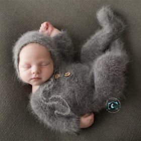 Accessoires de photographie barboteuse à pieds pour nouveau-nés | Body fait à la main, tenues de fils de vison avec bonnet, accessoires de photographie pour bébés