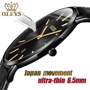 OLEVS Top marque de luxe hommes montres étanche Ultra mince Date horloge mâle en cuir montre à Quartz décontractée hommes sport montre-bracelet