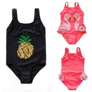 Enfants une pièce maillots de bain nouvelle mode ananas flamant imprimé maillot de bain bébé filles natation maillot de bain plage Costume maillots de bain