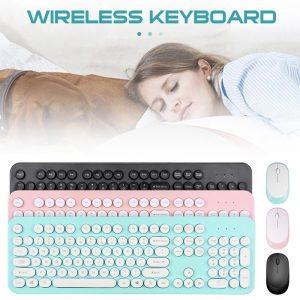 Erilles coloré sans fil clavier souris peigne silencieux clic Mutimedia 2.4G USB clavier souris ensemble pour ordinateur portable fournitures de bureau