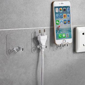 10pc Transparent mur stockage crochet prise de courant support de prise forte auto-adhésif cintre pour maison bureau cuisine salle de bains TSLM1