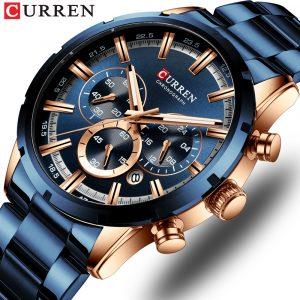 CURREN nouvelle mode hommes montres avec acier inoxydable haut marque de luxe sport chronographe Quartz montre hommes Relogio Masculino