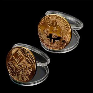 Collection d'art cadeau de Collection pièce de monnaie Bitcoin plaqué or commémoratif métal Antique Imitation pièces de Collection