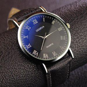Mode hommes montre affaires montre à Quartz en cuir montre-bracelet marque décontracté chiffres romains montre horloge