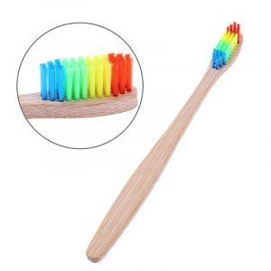 Brosse à dents en bambou naturel | Tube de brosse à dents arc-en-ciel en bambou naturel écologique, étui de voyage brosse à dents à tête souple, 2 pièces, emballage