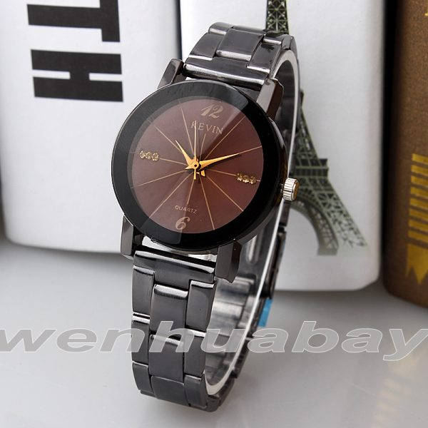 KEVIN nouveau Design Couple montres mode noir cadran rond en acier inoxydable bande Quartz montre-bracelet hommes femmes amant cadeaux