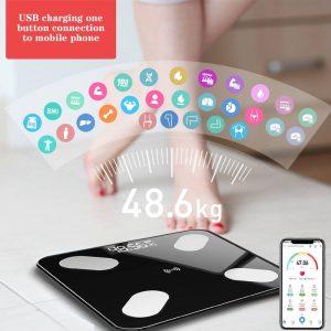 QDRR balance de charge d'énergie légère balance de graisse corporelle intelligente plancher scientifique LED électronique balance de poids numérique APP Bluetooth