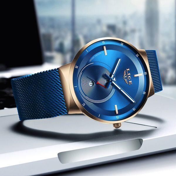 Relogio Feminino 2020LIGE femmes montre bleu montre de mode femmes maille étanche horloge mince Quartz dames montre Zegarek Damski