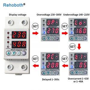Affichage de double LED d'utilisation de relais de Protection de montée subite de tension réglable de 230V Rail Din de 40A 63A avec la Protection de courant limite