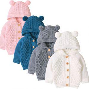 Pudcoco-manteau chaud d'hiver 0-24M | Nouveau manteau chaud pour bébés filles garçons 3D oreilles, capuchon manches longues, tricot joli vêtements d'extérieur 4 couleurs 2019