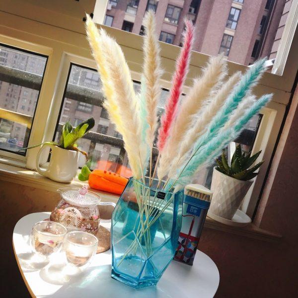 Bulrush-fleur artificielle de mariage   Petite herbe de pampa séchée naturelle, fleur pour décoration de maison, fausses fleurs