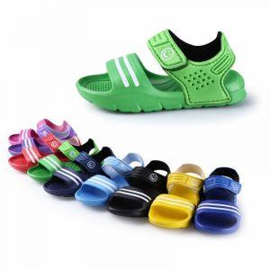 1 paire enfants chaussures décontracté enfants enfants chaussures bébé garçon fermé orteil été plage sandales plat plat respirant plage chaussures à enfiler