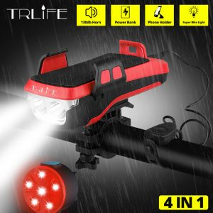 TRLIFE Multifunction 4 IN 1 Bicycle Light Powerful Bike Flashlight Bike Horn Power Bank Bicycle Front Light as Phone Holder