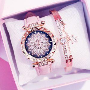 2019 femmes montres Bracelet ensemble ciel étoilé dames Bracelet montre décontracté en cuir Quartz montre-Bracelet horloge Relogio Feminino