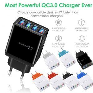 #45 Charge rapide 3.0 4.0 chargeur USB 3.1A chargeur de téléphone portable mural rapide pour iPhone 11 Samsung S9 S8 4 Ports adaptateur prise ue